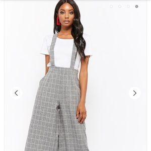 93824ebabdb Forever 21 Pants - Grey plaid overalls